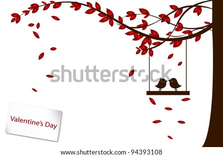 Valentine background with tree and bird. Vector Illustration. - stock vector