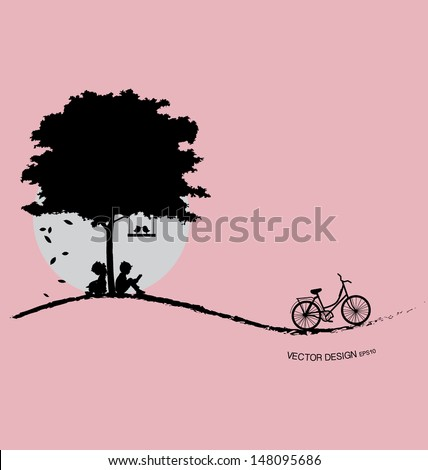 Valentine background with tree, bird and sunset. Valentine's Day. Vector Illustration. - stock vector