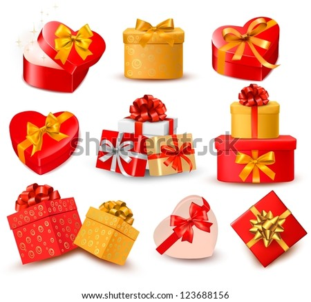 Valentine background with two red hearts and gift bow and ribbons. Vector illustration. - stock vector