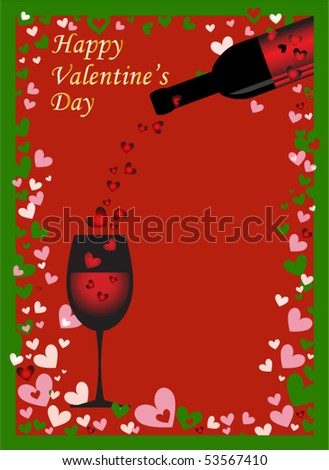 Valentine background with wine - stock vector