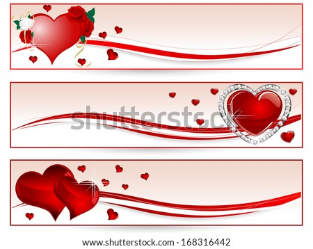 Valentine banners with red hearts and flowers - stock vector