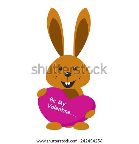 valentine bunny - stock vector