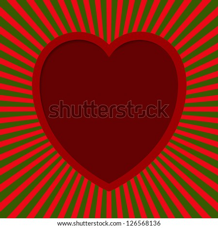 Valentine card - Heart With Beams. EPS10 vector.