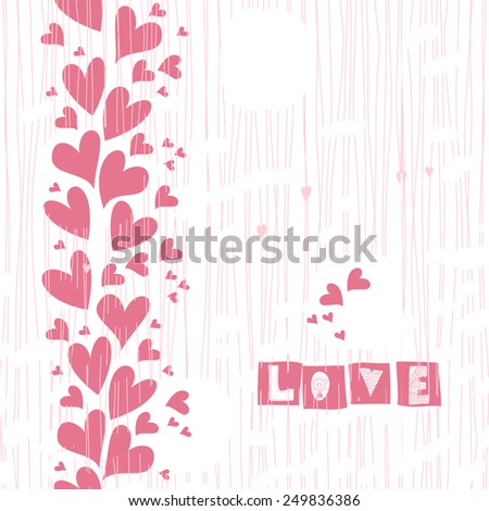 valentine card or wedding invitation card with pink doodle hearts. Seamless background - stock vector