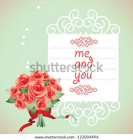 Valentine card. Roses bouquet. - stock vector