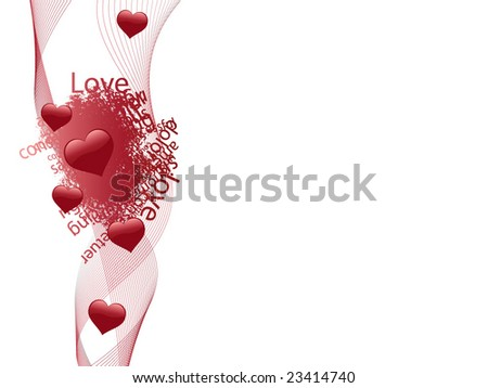 Valentine Card template (ribbon+text+hearts) - stock vector