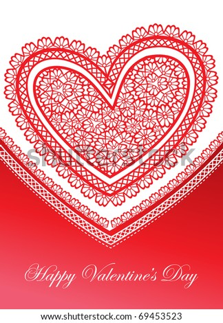 valentine card with a lace heart - stock vector