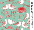 valentine card with birds - stock vector