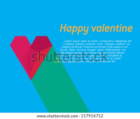 Valentine card with effect of red paper heart, vector eps10 illustration on blue background. - stock vector