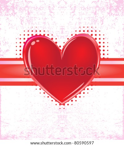 valentine card with grunge background - stock vector