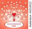 Valentine card with heart and blossomed tree - stock vector