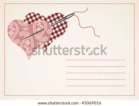valentine card with hearts - stock vector