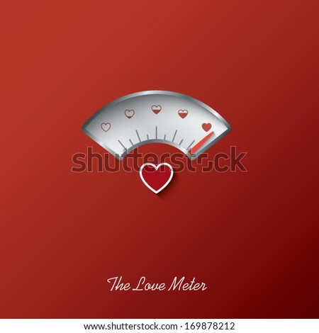 Valentine card with love gauge concept design on red background suitable for cards, postcards, promotion, etc. Eps10 vector illustration - stock vector
