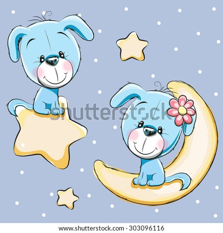 Valentine card with Lovers Dogs on a moon and star - stock vector