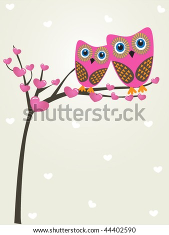 Valentine card with owls couple. Vector illustration. - stock vector