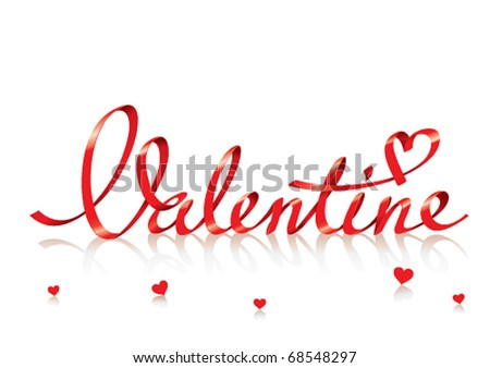 Valentine card with red lettering and small hearts. For themes like love, valentine's day, holidays. Vector illustration. - stock vector