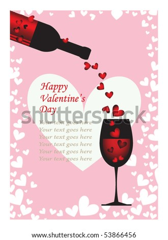Valentine Card with text area - stock vector