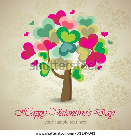 Valentine card with tree made of hearts - stock vector