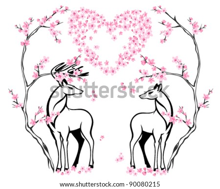 valentine card with two beautiful deers and blossoming tree - stock vector