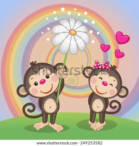 Valentine card with two Monkeys on a meadow  - stock vector