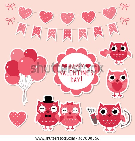 Valentine cartoon owls vector stickers set