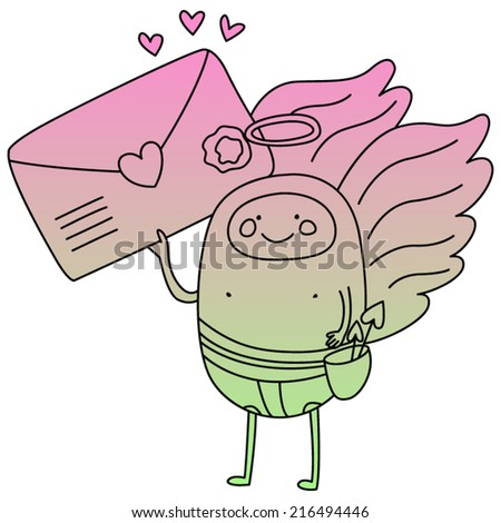 Valentine Cute Mail Cupid. Gradient Fill. Good for Valentine Invitations, Party Invitations, Valentine Cards, etc. Eps 8 - stock vector