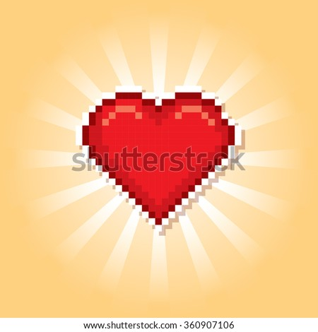 Valentine day banner. Pixel art. Old school computer graphic style. - stock vector