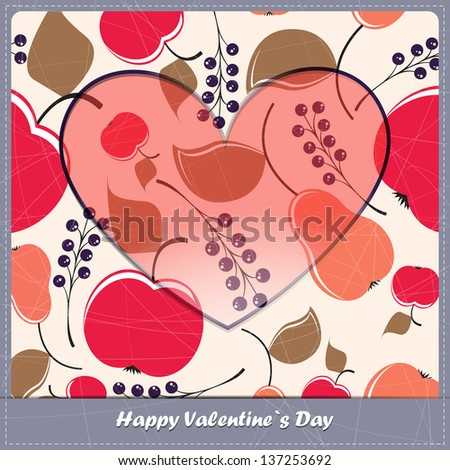 Valentine day card with Fruits