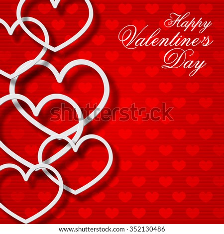 Valentine day card with heart shapes on a red background. Vector illustration