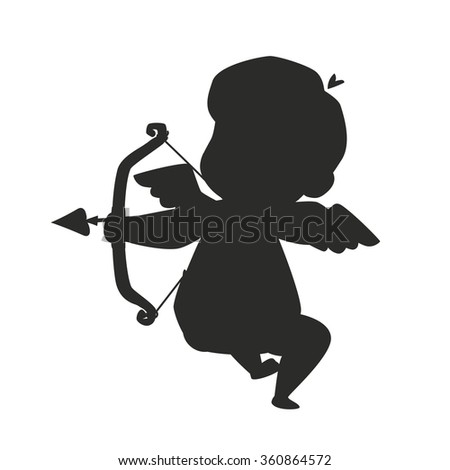 Valentine Day cupid angel silhouette cartoon style vector illustration. Amur cupid silhouette. Cupid cartoon vector illustration, Cute playfull cupid angel Valentine Day greeting card vector - stock vector