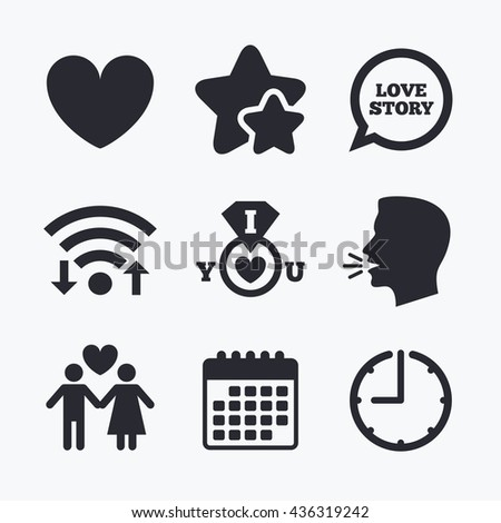 Valentine day love icons. I love you ring symbol. Couple lovers sign. Love story speech bubble. Wifi internet, favorite stars, calendar and clock. Talking head. Vector - stock vector