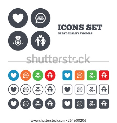Valentine day love icons. I love you ring symbol. Couple lovers sign. Love story speech bubble. Web buttons set. Circles and squares templates. Vector