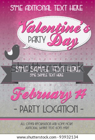 Valentine day party flyer - stock vector