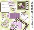 Valentine day scrapbook elements, vector - stock vector