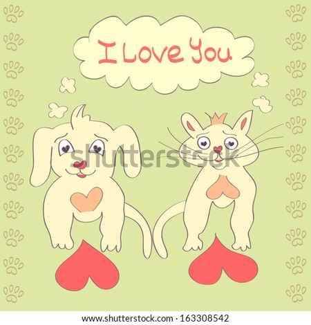 Valentine Dog and Cat cute cartoon character Love Heart Valentines day Greeting card Hand drawn trendy colors Romantic concept in vector - stock vector