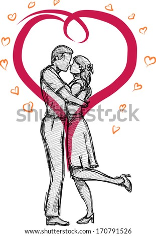 Valentine Doodle Couple's Kiss of Love - stock vector