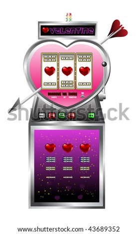 Valentine drawing of slot machine - stock vector