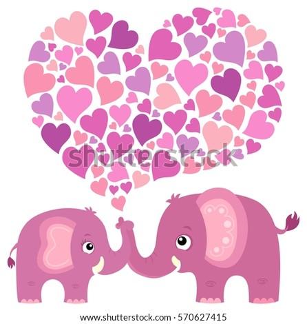 Valentine Elephant Theme Image 4   Eps10 Vector Illustration.