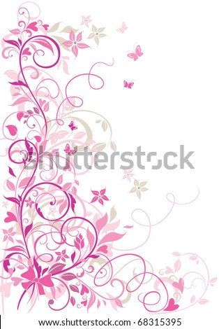 Valentine floral border - stock vector