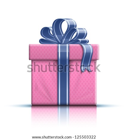Valentine gift box with ribbon and bow. Vector illustration - stock vector