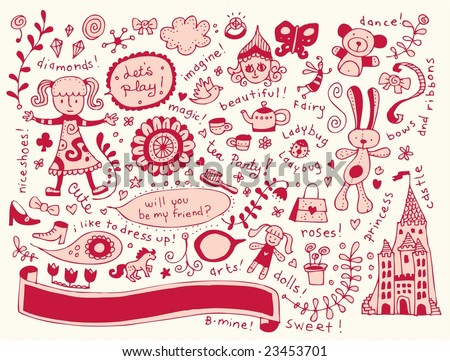 Valentine Girl doodle set. Click on my name below to see a huge collection of doodles. - stock vector