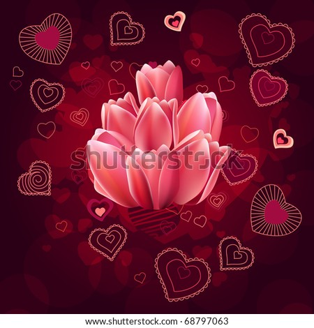 Valentine greeting card with different red hearts - stock vector