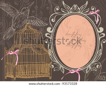 Valentine hand drawing background with flowers and cage, vector