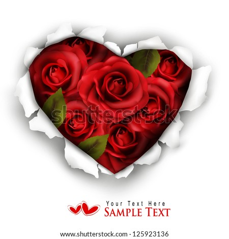 Valentine Heart Card Design. Red roses and ripped paper heart. Vector illustration. - stock vector