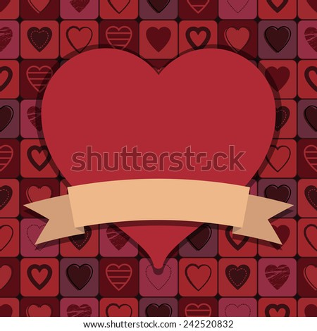 valentine heart decoration with ribbon for your text - stock vector