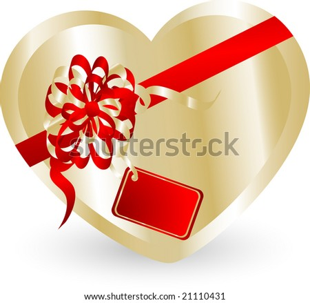 Valentine heart gift box - vector illustration