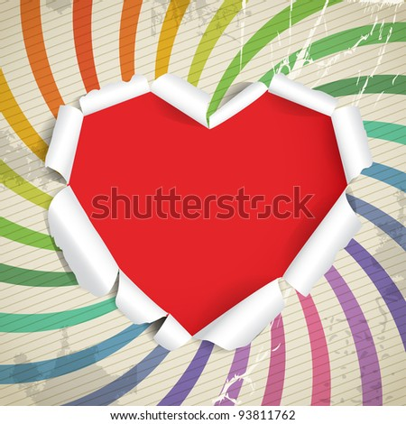 Valentine heart of torn paper on vintage background - stock vector