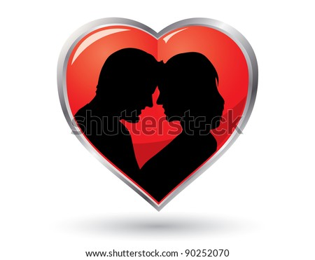 valentine heart with in loved couple silhouette - stock vector