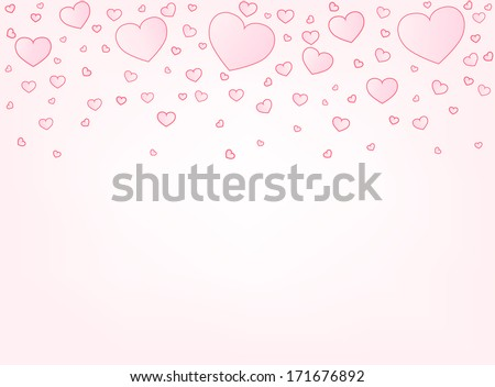 Valentine hearts letter card vector illustration background with copyspace bottom - stock vector