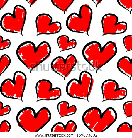 Valentine hearts. Seamless vector pattern.  - stock vector